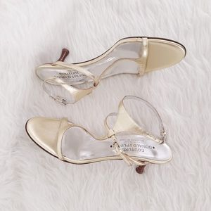 Donald J Pliner Couture Shoes Women 7.5 Heels Gold